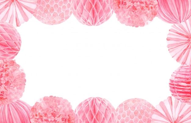 Marco de plantilla de fiesta acuarela rosa