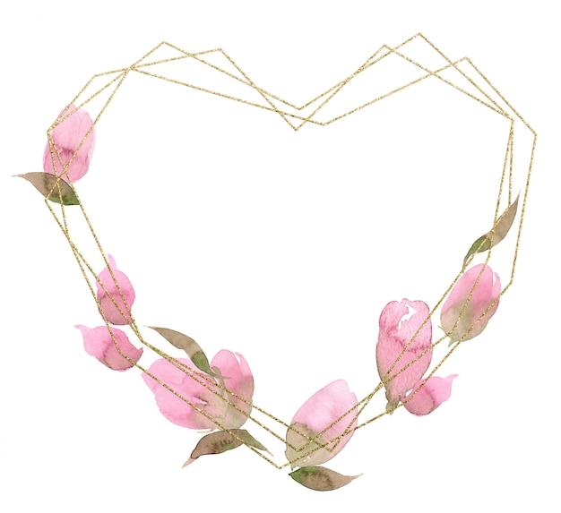 Marco poligonal de corazón de san valentín y cristal de boda de oro