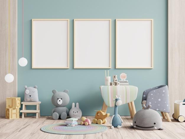Marco de póster en blanco en la habitación de los niños, sala de niños, guardería, representación 3d