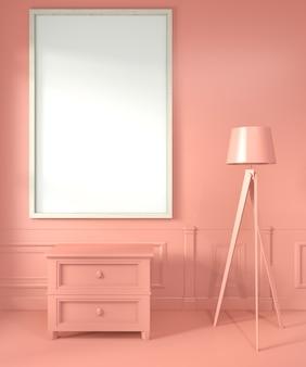 Marco de póster con gabinete y lámpara en sala de estar estilo coral renderizado 3d