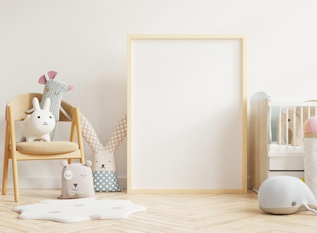 Marco de póster en la habitación de los niños y decoración, representación 3d
