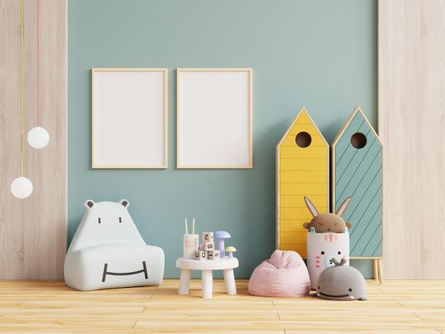 Marco de póster en la habitación de los niños, habitación de los niños, guardería, representación 3d