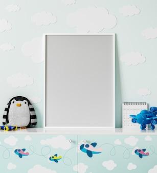 Marco de póster en la habitación de los niños con pared azul claro con nubes, cómoda con estampado de aviones, peluche de pingüino, juguete de avión, renderizado 3d