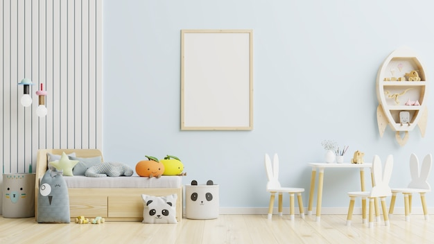 Marco de póster en la habitación de los niños en la pared azul claro. representación 3d