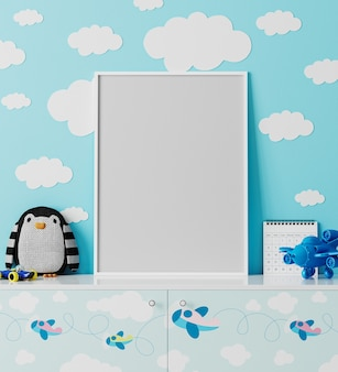 Marco de póster en la habitación de los niños con pared azul con nubes, cómoda con estampado de aviones, peluche de pingüino, juguete de avión, render 3d