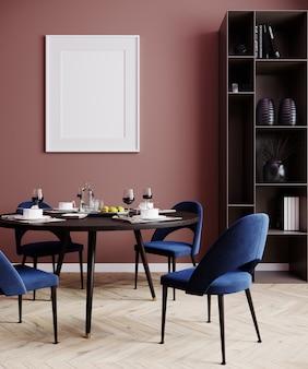 Marco de póster de maqueta en fondo interior moderno, sala de estar, estilo escandinavo, render 3d, ilustración 3d