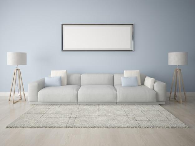 Marco de póster moderna sala de estar con un fondo azul.