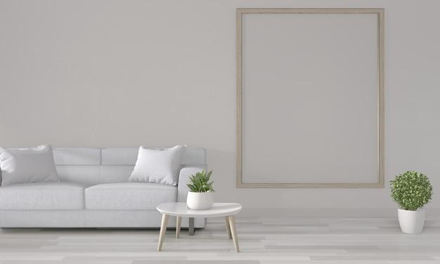 Marco de póster en la pared blanca con sofá blanco en el interior de la habitación moderna representación 3d