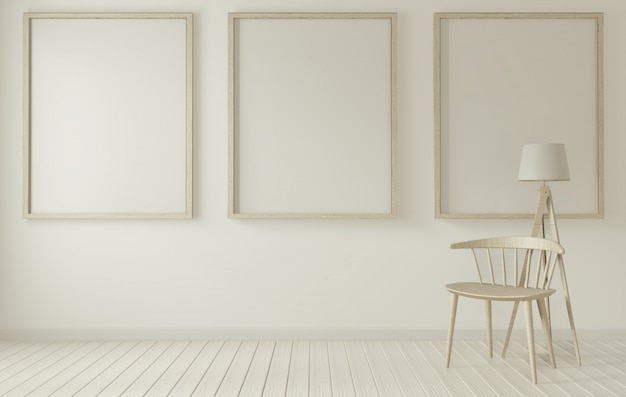 Marco de póster y silla blanca en sala de estar blanca representación 3d