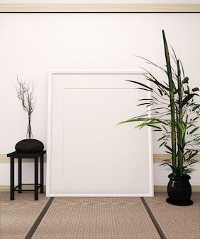 Marco de póster sobre suelo de tatami y sala blanca de estilo japonés con jarrón negro sobre mesa baja y plantas de bambú. renderizado 3d
