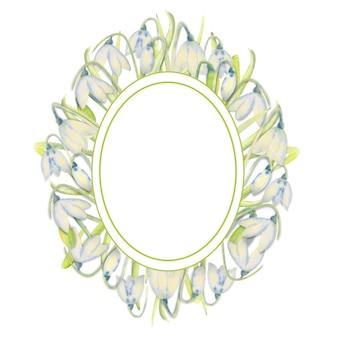Marco de primavera romántica con campanillas en el borde exterior sobre un fondo blanco aislado. ilustración de acuarela.