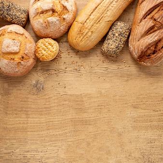 Marco de productos de panadería con espacio de copia