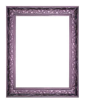 El marco púrpura antiguo en el fondo blanco.
