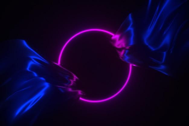 Marco que brilla intensamente de neón en la ilustración de seda del fondo 3d que fluye