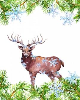 Marco de ramas de pino, ciervo animal en copos de nieve. tarjeta de navidad. acuarela