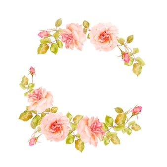 Marco de ramas de rosas delicadas para decoración