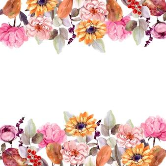 Marco ramo de flores aislado acuarela