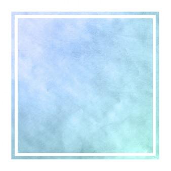 Marco rectangular acuarela azul dibujado a mano fría