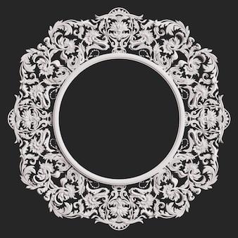 Marco redondo blanco clásico con decoración de adorno en pared gris oscuro