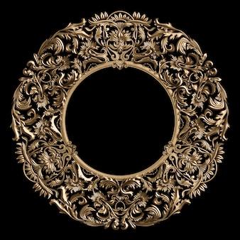 Marco redondo clásico dorado con decoración de adorno en pared negra