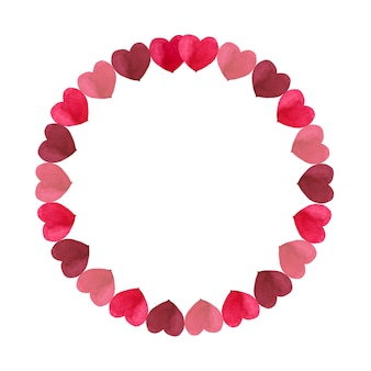 Marco redondo de corazones de tonos rojos simples para el día de san valentín. ilustración acuarela