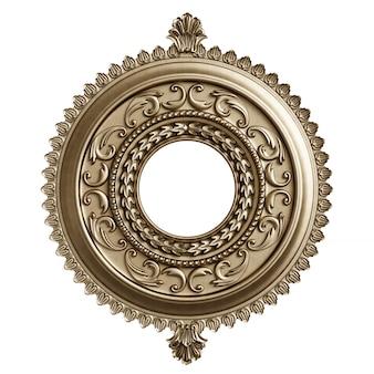 Marco redondo dorado clásico con decoración de adorno aislado