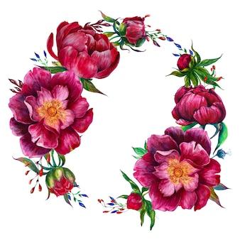 Marco redondo con peonías de acuarela y flores gráficas.