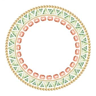Marco redondo de piedras preciosas multicolores y cristales.