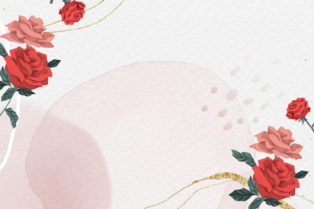 Marco romántico de rosas de san valentín con fondo de acuarela