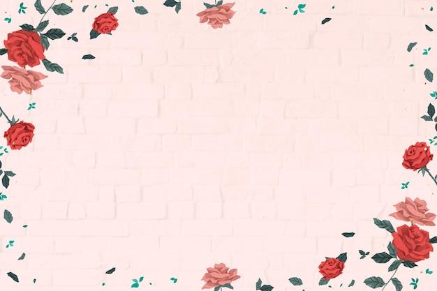 Marco de rosas rojas de san valentín con fondo de pared de ladrillo rosa