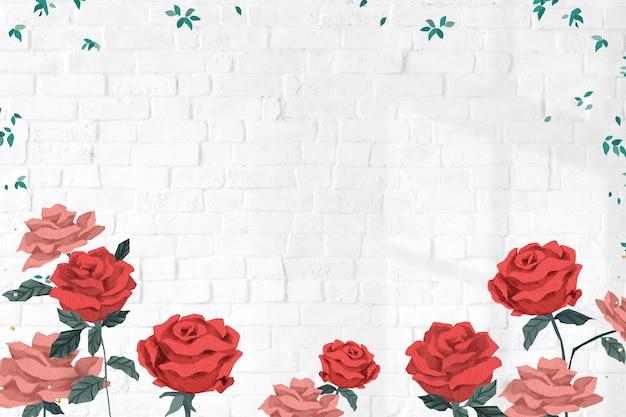Marco de san valentín de rosas rojas con fondo de pared de ladrillo