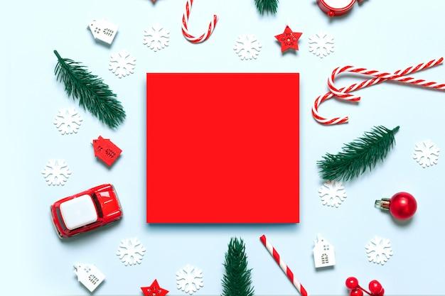 Marco de tarjeta de felicitación de feliz navidad y felices fiestas con decoración festiva