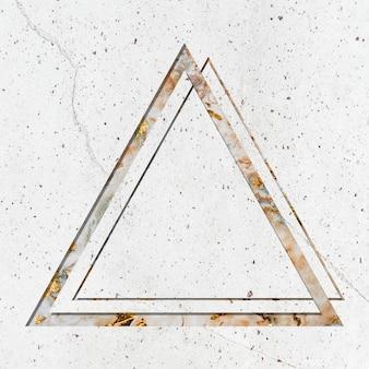 Marco de triángulo sobre fondo de textura de mármol blanco