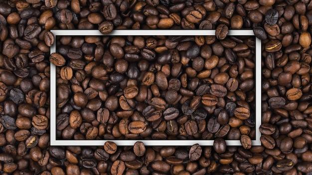 Marco vacío de banner de granos de café tostado