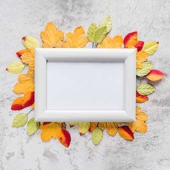 Marco vacío en hojas de otoño