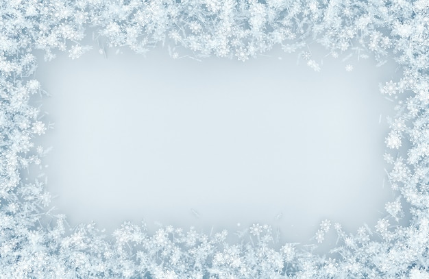 Marco de una variedad de copos de nieve