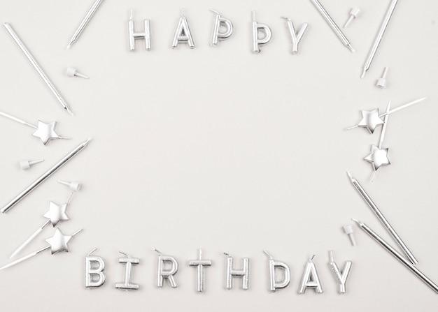 Marco de velas de cumpleaños circular vista superior