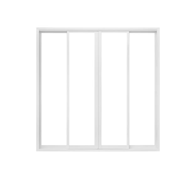 Marco de ventana de casa moderna real aislado sobre fondo blanco.