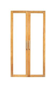 Marco de ventana de puerta de vidrio doble de madera vintage real aislado sobre fondo blanco
