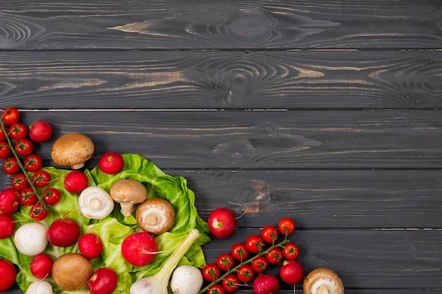 Marco de verduras saludables vista superior