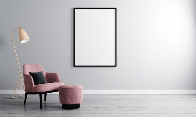 Marco vertical en blanco en la habitación vacía con pared blanca y sillón en parquet de madera. interior de la sala con sillón y marco en blanco para maqueta. representación 3d