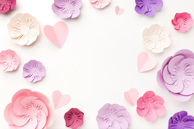 Marco de vista superior de adorno de papel floral