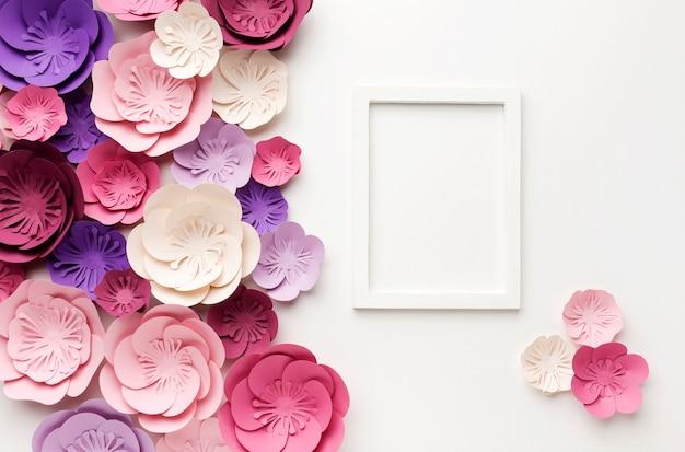 Marco de vista superior con adornos florales