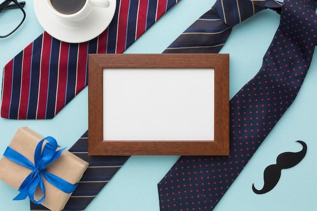 Marco de vista superior en arreglo de corbatas