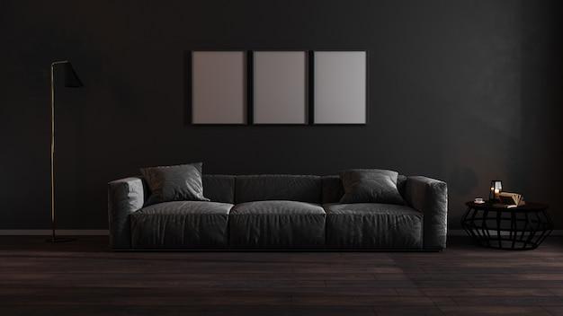 Marcos de carteles en blanco en la oscura sala de estar con sofá gris