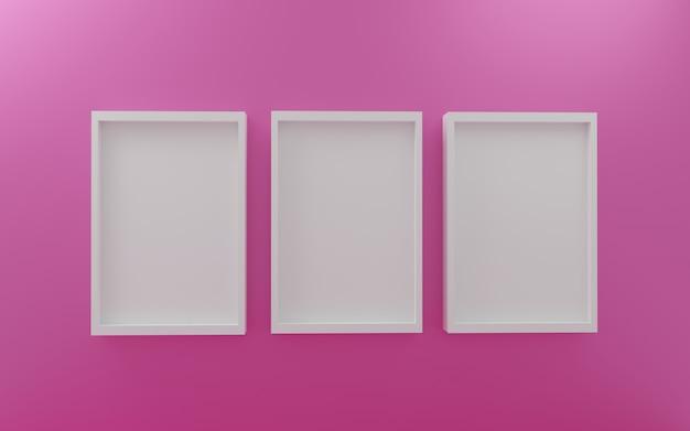 Marcos de fotos de pared vacíos con marco de fotos blanco