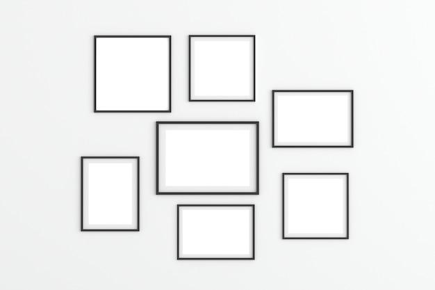 Marcos de fotos vacíos sobre fondo blanco para maqueta