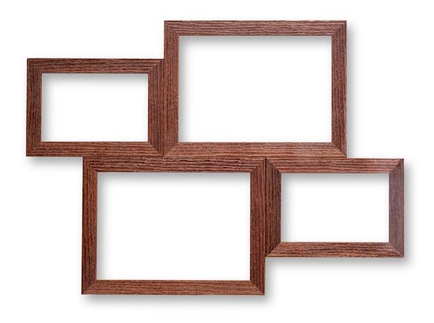 Marcos de madera sobre superficie blanca