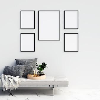 Marcos maqueta con decoraciones minimalistas