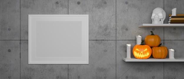 Marcos de maqueta en la pared del desván con los estantes decorados con lámparas de calabaza y cosas en el concepto de halloween 3d render